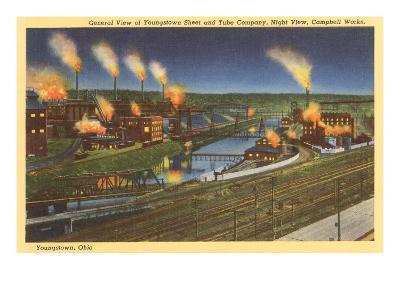 Night, Factories, Youngstown, Ohio--Art Print