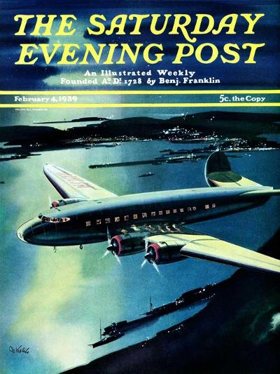 """Night Flight,"" Saturday Evening Post Cover, February 4, 1939-Josef Kotula-Giclee Print"