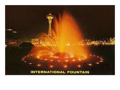 Night, Fountain, Space Needle, Seattle, Washington--Art Print