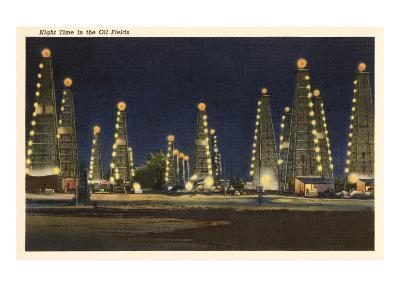 Night in the Oil Fields, Oklahoma--Art Print
