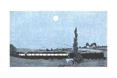 Night Landscape with Passenger Train--Art Print