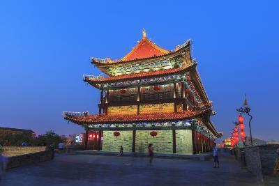 Night Lighting and Glowing Lanterns, Views from Atop City Wall, Xi'An, China-Stuart Westmorland-Photographic Print