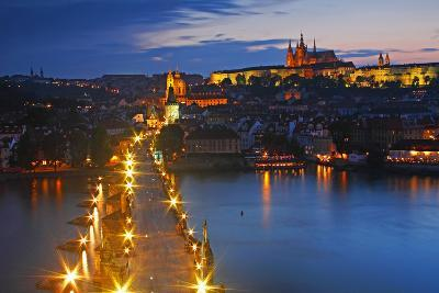 Night Lights of Charles Bridge or Karluv Most and Royal Palace on Castle Hill-Design Pics Inc-Photographic Print