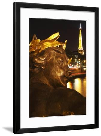 Night Lights of the Eiffel Tower and the River Seine as Seen from the Pont Alexandre Ii-Design Pics Inc-Framed Photographic Print