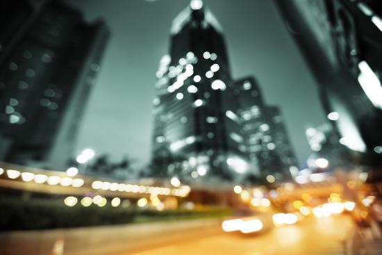 Night Lights of the Hong Kong out of Focus-Iakov Kalinin-Photographic Print