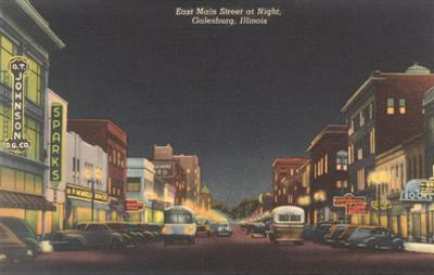 Night, Main Street, Galesburg, Illinois
