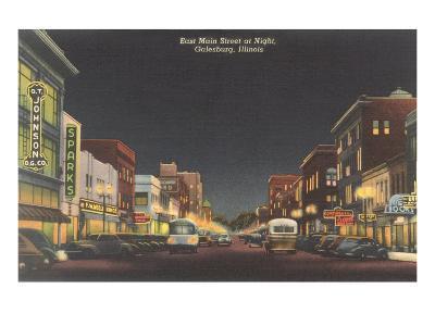 Night, Main Street, Galesburg, Illinois--Art Print