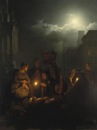 Night Market in Antwerp-Petrus van Schendel-Giclee Print