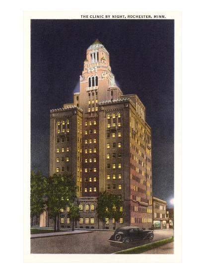 Night, Mayo Clinic, Rochester, Minnesota--Art Print