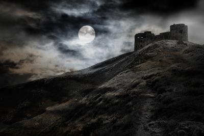 Night, Moon And Dark Fortress-fotosutra.com-Photographic Print