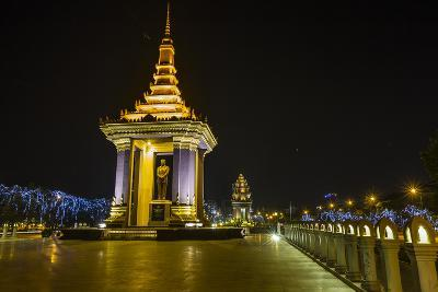 Night Photograph of the Statue of Norodom Sihanouk, Phnom Penh, Cambodia, Indochina-Michael Nolan-Photographic Print