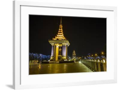 Night Photograph of the Statue of Norodom Sihanouk, Phnom Penh, Cambodia, Indochina-Michael Nolan-Framed Photographic Print