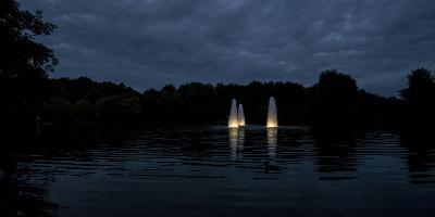 Night Photography Lake with Illuminated Water Fountains-Benjamin Engler-Photographic Print