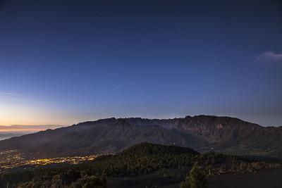 Night Photography with Starry Sky, View on the Caldera De Taburiente-Gerhard Wild-Photographic Print