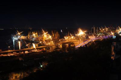 Night Port Odessa Ukraine-vector_master-Photographic Print