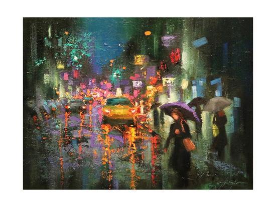Night Rain in Village-Chin H^ Shin-Art Print