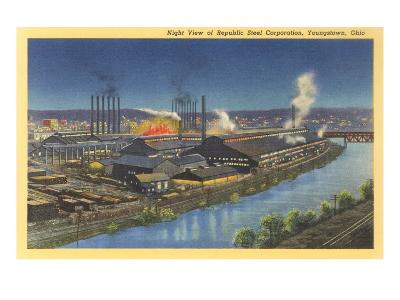 Night, Republic Steel Corporation, Youngstown, Ohio--Art Print