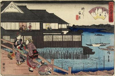 Night Scene on Yanagi-Bashi Bridge and Restaurant Manhachi, C. 1835-1842-Utagawa Hiroshige-Giclee Print
