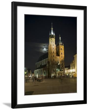 Night Shot of Saint Mary's Church or Basilica, Unesco World Hertitage Site, Poland-Robert Harding-Framed Photographic Print