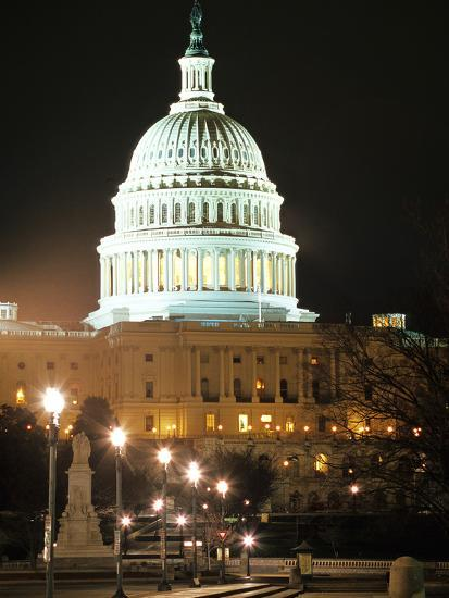 Night Shot of the United States Capitol Building and Capital Hill, USA-David Clapp-Photographic Print