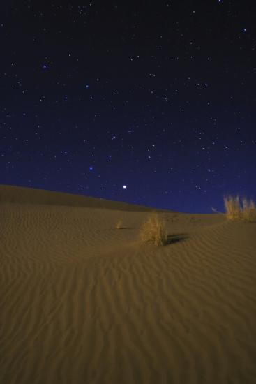 Night Sky Above Moonlit Desert Sand Dunes. Saturn, the Brightest, Appears in the Constellation Leo-Babak Tafreshi-Photographic Print