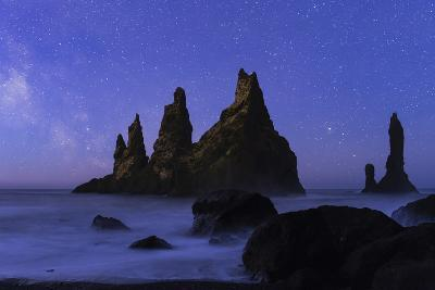 Night Sky and the Milky Way at the Break of Dawn over the Basalt Sea Stacks known as Reynisdrangar-Babak Tafreshi-Photographic Print