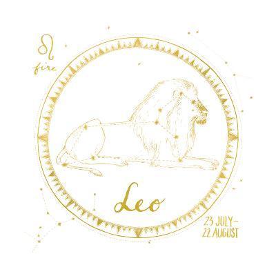 Night Sky Leo White and Gold-Sara Zieve Miller-Art Print
