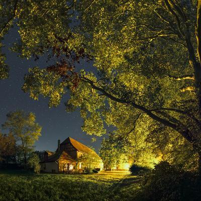 Night Sky over Historic Buildings of the Arnsburg Kloster, Founded in the 12th Century-Babak Tafreshi-Photographic Print