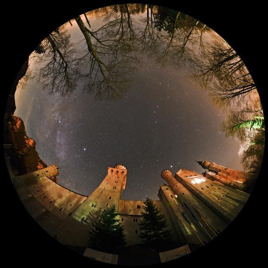 Night Sky over Neuschwanstein Castle Including the Milky Way, Vega, and the Summer Triangle-Babak Tafreshi-Photographic Print
