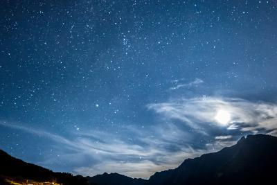 Night Sky Stars and Moon across Mountain-gianni triggiani-Photographic Print