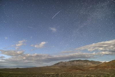 Night Sky with a Falling Star Seen Above Highway 395 on the Extraterrestrial Highway-Bill Hatcher-Photographic Print