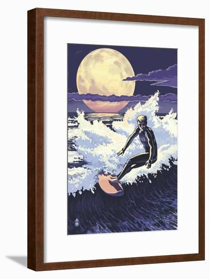 Night Surfer-Lantern Press-Framed Art Print