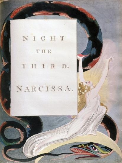 Night the Third Narcissa, Title-Page from the 'Nights' of Edward Young's Night Thoughts, C1797-William Blake-Giclee Print