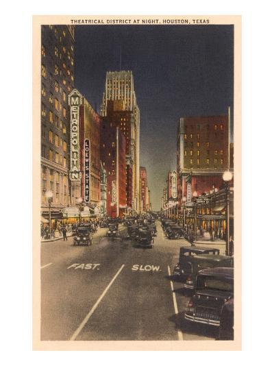 Night, Theatre District, Houston, Texas--Art Print