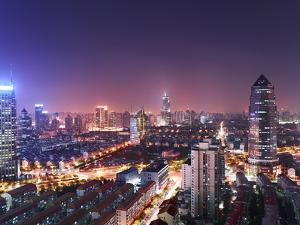 Night Time Cityscape in Pudong, Shanghai, China