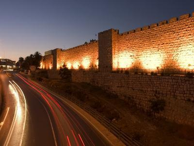 Night Time Lights of Traffic, Jaffa Gate, Old Walled City, Jerusalem, Israel, Middle East-Christian Kober-Photographic Print