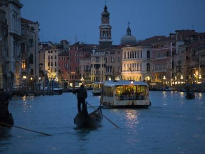 Night-Time on Grand Canal, Venice--Photographic Print