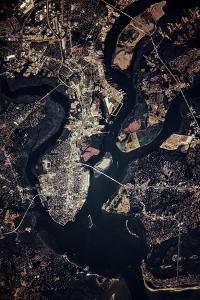 Night time satellite image of Charleston, South Carolina, USA
