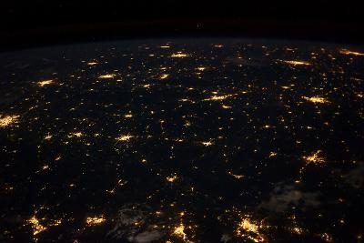 Night time satellite image of Cities in Gulf of Mexico, North America--Photographic Print