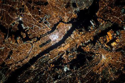Night time satellite image of New York, USA--Photographic Print