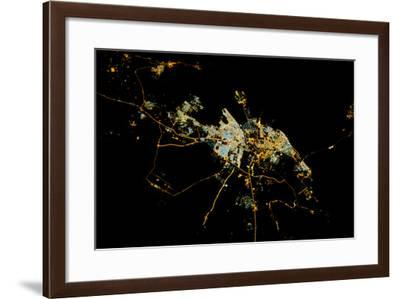 Night time satellite view of Dammam, Eastern Province, Saudi Arabia--Framed Photographic Print