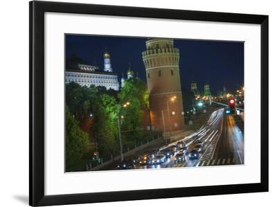 Night Time Traffic on Kremlevskaya Nab.-Jon Hicks-Framed Photographic Print