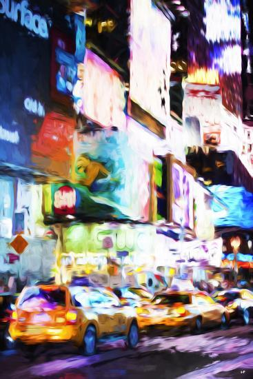 Night Times Square - In the Style of Oil Painting-Philippe Hugonnard-Giclee Print