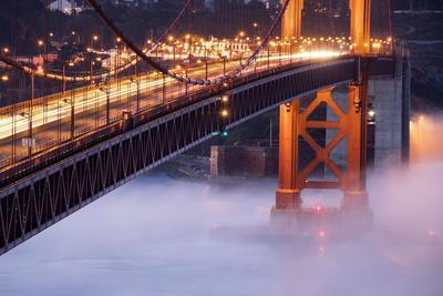 Night Travels Across Golden Gate Bridge, San Francisco California Travel-Vincent James-Photographic Print