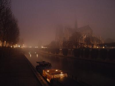 Night View Across the Seine Towards Notre Dame and the Ile de la Cite, Paris, France-James L^ Stanfield-Photographic Print