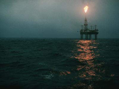 Night View of a Plume of Fire from an Offshore Oil Rig in This Norwegian Oil Field-Emory Kristof-Photographic Print