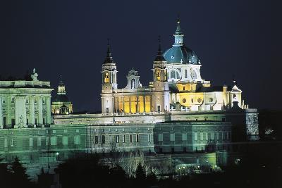 Night View of Almudena Cathedral (Cathedral of Saint Mary Royal of La Almudena)--Photographic Print