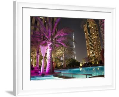 Night View of Burij Khalifa Tower, Dubai, United Arab Emirates, Middle East-Angelo Cavalli-Framed Photographic Print