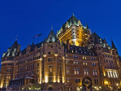 Night View of Chateau Frontenac Hotel, Quebec City, Canada-Keren Su-Photographic Print
