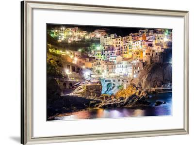 Night View of Colorful Village Manarola in Cinque Terre-MartinM303-Framed Photographic Print